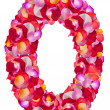 Number 0 made from colorful petals rose — Stock Photo