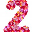 Number 2 made from colorful petals rose — Stock Photo