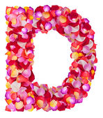 Letter D made from colorful petals rose — Stock Photo