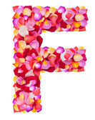 Letter F made from colorful petals rose — Stock Photo