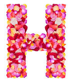 Letter H made from colorful petals rose — Zdjęcie stockowe