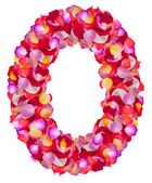 Letter O made from colorful petals rose — Stock Photo