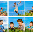 Collage of happy mother and son resting outdoor — Stock Photo