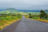 Car on the asphalt road in Kenya — Stock Photo