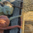 Stock Photo: part of vintage wooden loom with homemade threads