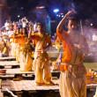 A Hindu priest performs the Ganga Aarti religious ritual (fire puja) — Stock Photo