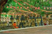 Buddhist monk at Mahabodhi temple, Bodh Gaya, India. — Stockfoto
