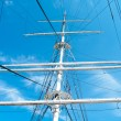 Mast yacht without sails against the blue sky — Stock Photo #34877267