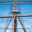 Rope ladder to the main mast of the ship  — Foto Stock
