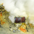 Stock Photo: Extracting sulphur inside Kawah Ijen crater, Indonesia