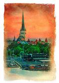 Evening scenic summer view of Tallinn, Estonia. Vintage painting — Stok fotoğraf