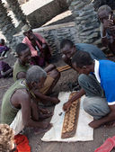 African men playing traditional game — Stock Photo