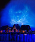 Laser show, canções do mar. — Foto Stock