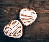 Homemade ginger cookies heart — Stock Photo