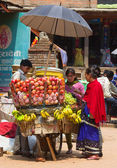 The hawker sell his fruits, Katmandu — Stock Photo
