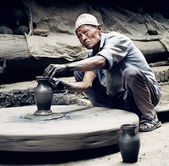 Nepalese  potter — Stock Photo