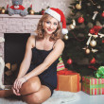 Christmas Woman in Santa Hat — Stock Photo