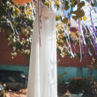 Bride white wedding dress hanging in a tree — Stock Photo