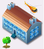 Set of isometric several building and car — Stock Vector