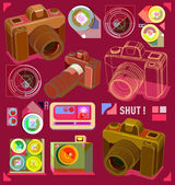Vintage camera pattern with reto style — Stock Vector