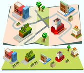 Pre assembly isometric map — Stock Vector