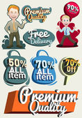 Vector set of retro labels, buttons and icons — Stock Vector