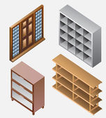 Set of furniture isometric. detailed interior isometric series — Stock Vector