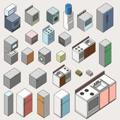 Set of furniture isometric. detailed interior isometric series — Stock Vector