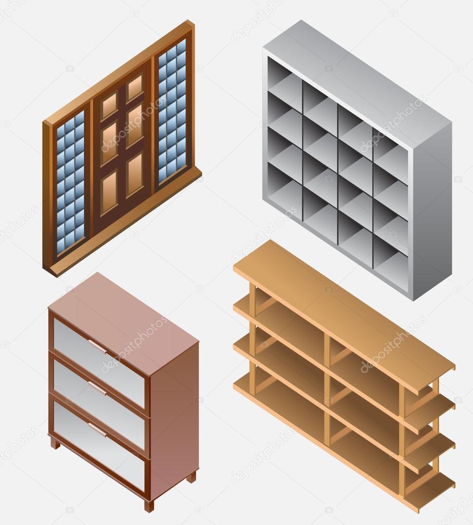 set of furniture isometric detailed interior isometric