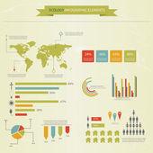 Coleção de infográficos de ecologia, gráficos, símbolos, gráfico. vecto — Vetorial Stock