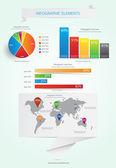 Wereld kaart en informatie afbeeldingen. vector — Stockvector