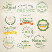 Retro styled Organic Food labels.Vector — Stok Vektör