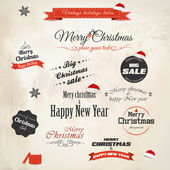 Christmas decoration collection. Vector — Stock vektor