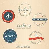 复古复古飞行徽章。矢量 — 图库矢量图片