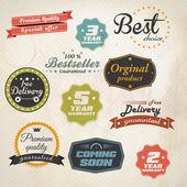 Set van retro stickers en labels. vector — Stockvector