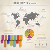 Infografica retrò insieme. grafica informazioni e mappa del mondo. vect — Vettoriale Stock