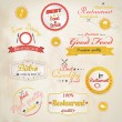 Set of vintage retro restaurant badges. Vector — Stock Vector