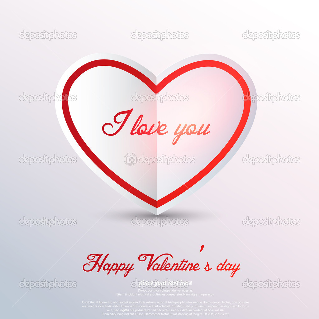 Paper heart Valentines day card. Vector — Stock Vector #19186105