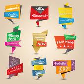 Design origami stickers set. Vector — Stock Vector
