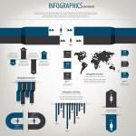 Набор ретро инфографики. Карта мира и графической информации. Vect — Cтоковый вектор