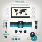 Retro infographics set. World Map and Information Graphics. Vect — Vettoriale Stock