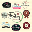 Vector de stock : Retro Bakery Badges And Labels. Vector