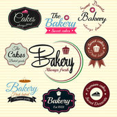 Retro Bakery Badges And Labels. Vector — Stockvektor
