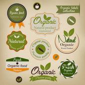 Retrò in stile labels.vector di alimenti biologici — Vettoriale Stock