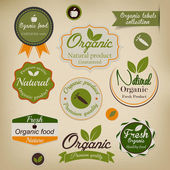 Retro styled Organic Food labels.Vector — Vettoriale Stock