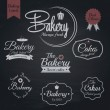 Vector de stock : Set of retro bakery labels, Chalk typography design. Vector