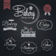 Stockvector : Set of retro bakery labels, Chalk typography design. Vector