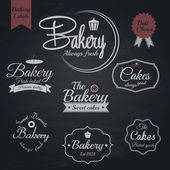 Set of retro bakery labels, Chalk typography design. Vector — Stok Vektör