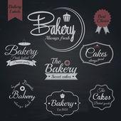 Set van retro bakkerij etiketten, krijt typografie design. vector — Stockvector