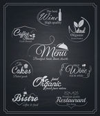 Chalkboard food and drinks labels. Vector — Stock Vector
